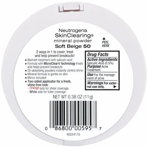Neutrogena SkinClearing 50 Soft Beige Mineral Powder Perspective: back