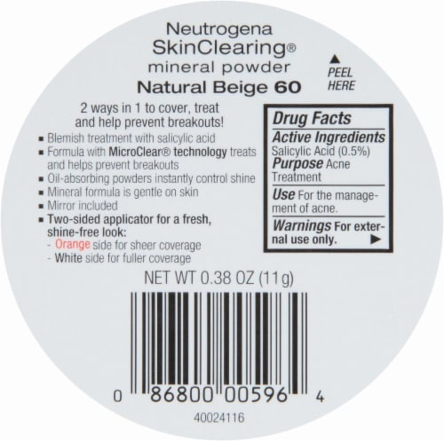 Neutrogena SkinClearing 60 Natural Beige Mineral Powder Perspective: back