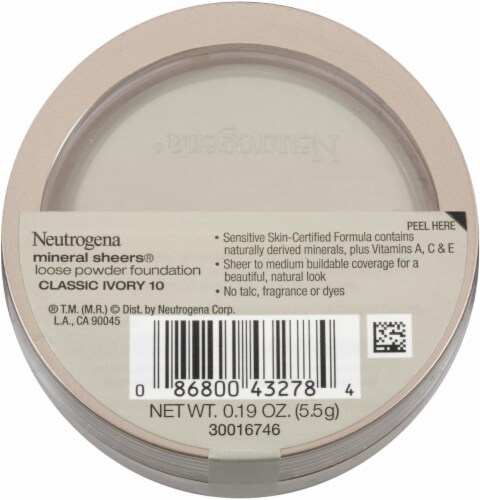 Neutrogena Mineral Sheers Classic Ivory Loose Powder Foundation Perspective: back