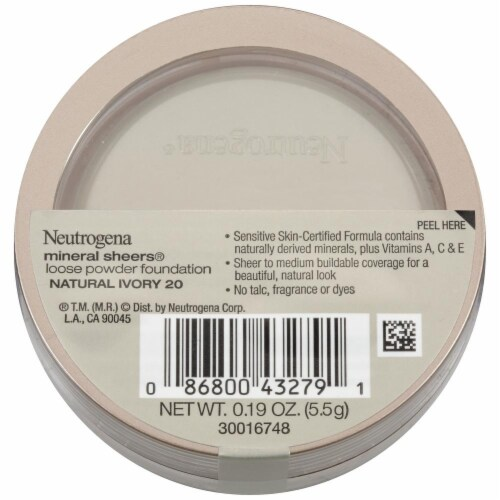 Neutrogena Mineral Sheers 20 Natural Ivory Loose Powder Foundation Perspective: back