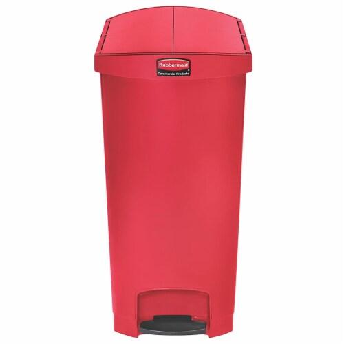 Rubbermaid Slim Jim 24 Gallon Plastic Step Kitchen Garbage Trash Can Bin, Red Perspective: back