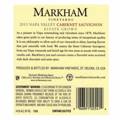 Markham Vineyards Cabernet Sauvignon Perspective: back