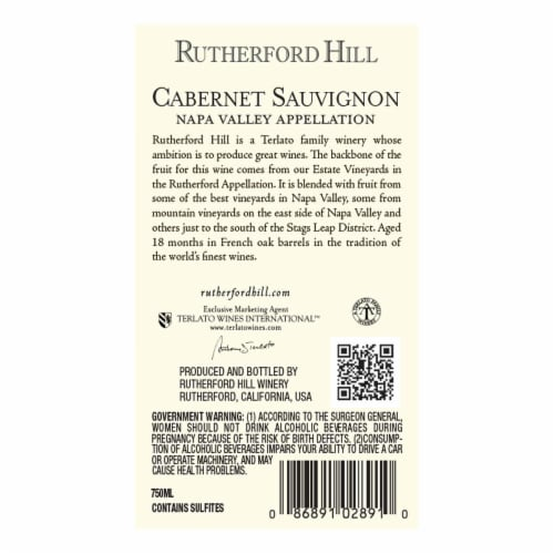 Rutherford Hill Cabernet Sauvignon Perspective: back