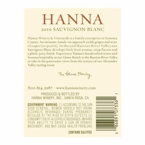 Hanna Russian River Valley Sauvignon Blanc Perspective: back