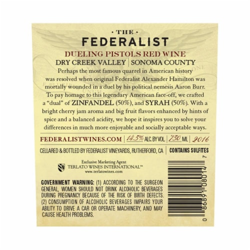 The Federalist Dueling Pistols Red Blend Perspective: back