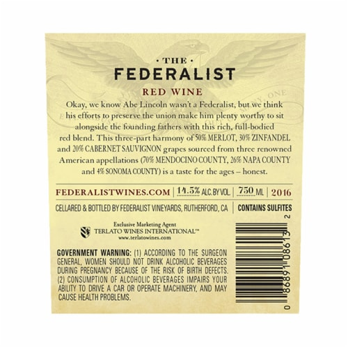 The Federalist Honest Red Blend Perspective: back