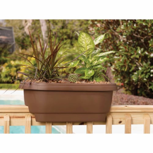 Fiskars 24 in. Clay Deck Rail Planter Perspective: back