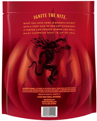 Fireball Adult Trick-Or-Treat Cinnamon Whisky Perspective: back