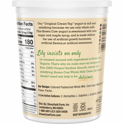 Brown Cow® Cream Top Maple Whole Milk Yogurt Perspective: back
