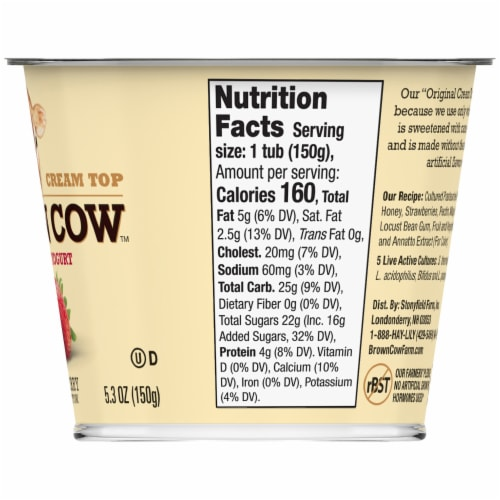 Brown Cow Cream Top Strawberry on the Bottom Whole Milk Yogurt Perspective: back