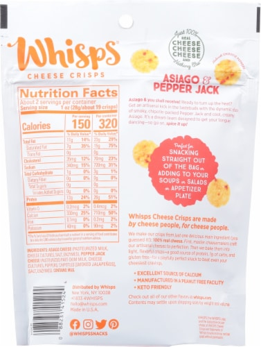 Whisps Asiago & Pepper Jack Cheese Crisps Perspective: back