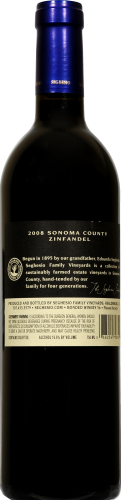 Seghesio Family Vineyards Zinfandel Perspective: back