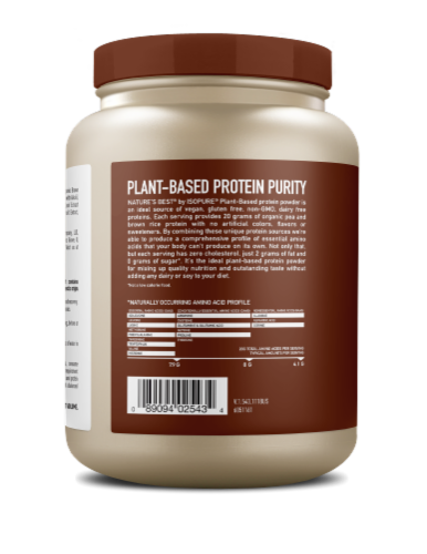 Nature's Best Plant Based Vegan Chocolate Protein Powder Perspective: back