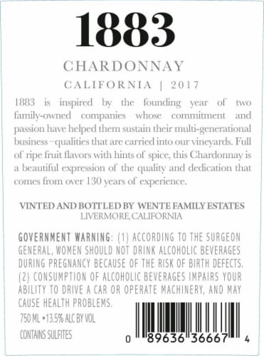 1883 Chardonnay Perspective: back