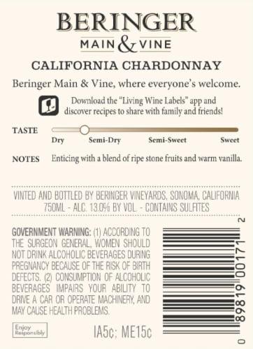 Beringer Main & Vine Chardonnay White Wine Perspective: back