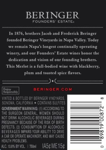 Beringer Founders' Estate Merlot Red Wine Perspective: back