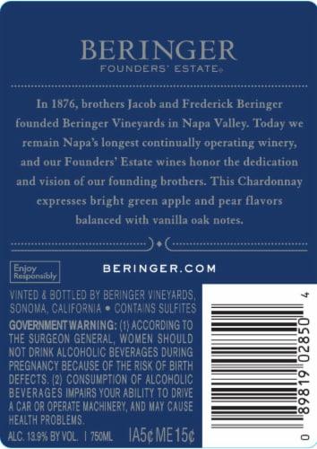 Beringer Founders' Estate Chardonnay White Wine Perspective: back