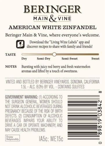 Beringer Main & Vine White Zinfandel Pink Wine Perspective: back