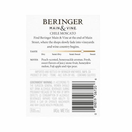 Beringer Main & Vine Moscato Wine Perspective: back