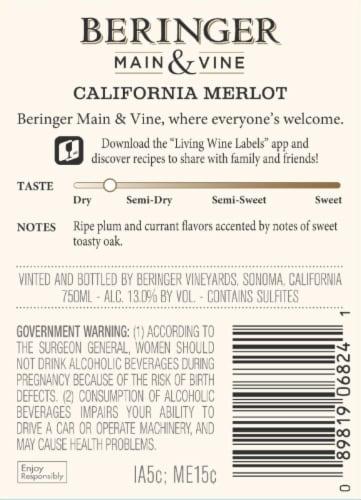 Beringer Main & Vine Merlot Red Wine Perspective: back