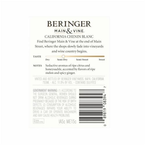 Beringer Main & Vine Chenin Blanc White Wine Perspective: back