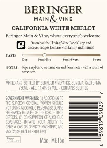 Beringer Main & Vine White Merlot Pink Wine Perspective: back