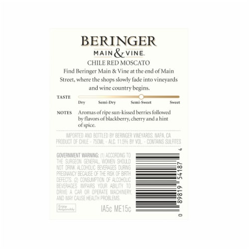 Beringer Red Moscato Perspective: back