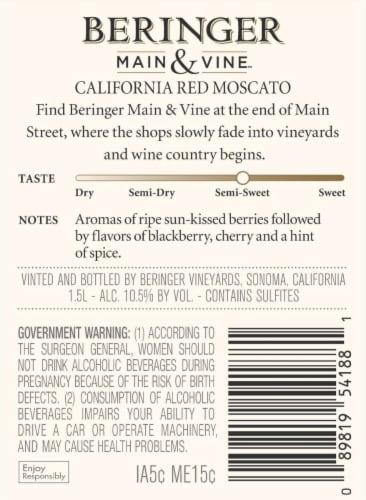 Beringer Main & Vine Red Moscato White Wine Perspective: back