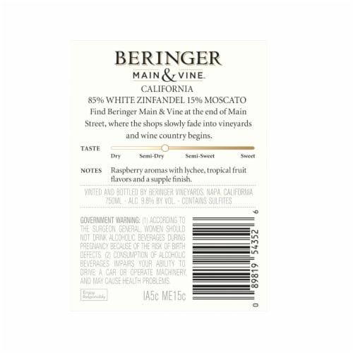 Beringer Main & Vine White Zinfandel Moscato Pink Wine Perspective: back
