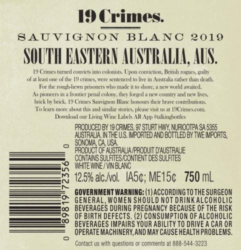 19 Crimes Sauvignon Block White Wine Perspective: back