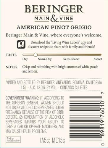 Beringer Main & Vine Pinot Grigio White Wine Perspective: back