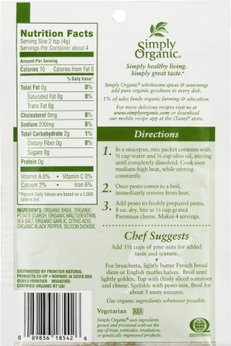 Simply Organic Sweet Basil Pesto Sauce Mix Perspective: back