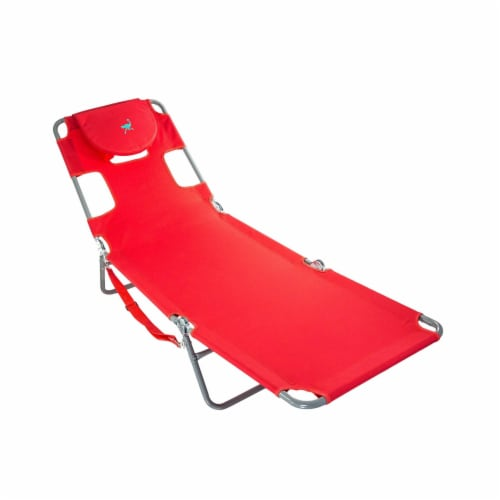 Ostrich Chaise Lounge Folding Portable Sunbathing Poolside Beach Chair, Red Perspective: back