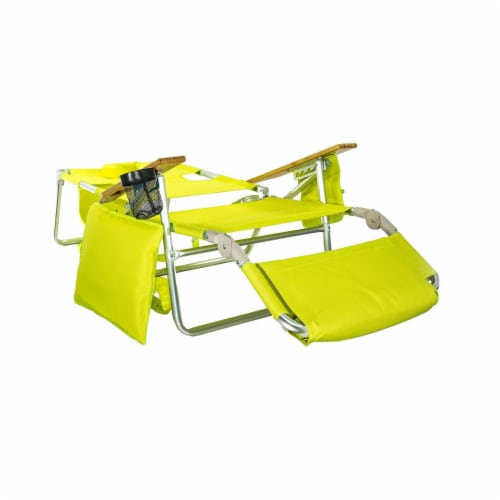 Ostrich Deluxe Padded 3-N-1 Outdoor Lounge Reclining Beach Chair, Lime Green Perspective: back