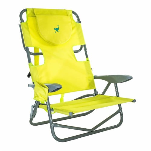 Ostrich On-Your-Back Outdoor Lounge 5 Position Reclining Beach Chair, Green Perspective: back