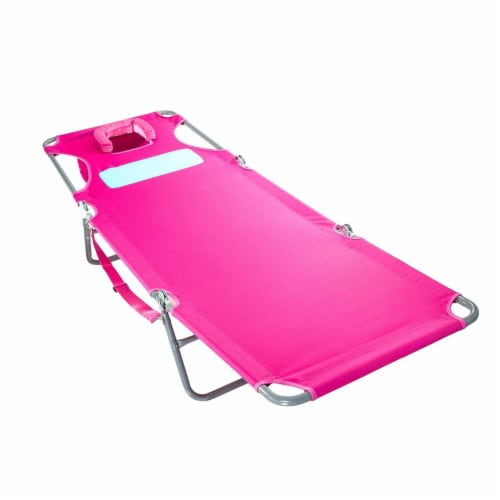 Ostrich Comfort Lounger Face Down Sunbathing Chaise Lounge Beach Chair, Pink Perspective: back