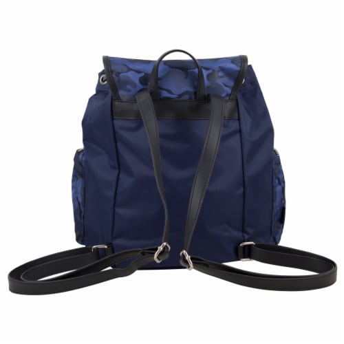 Bodhi Microfiber Fashion Drawstring Flap Backpack - Navy Camo Perspective: back
