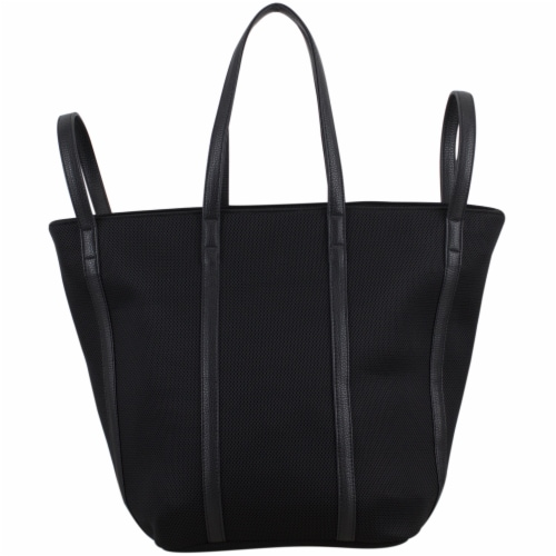 Bodhi Large Waffle Mesh Fashion Tote - Black Perspective: back