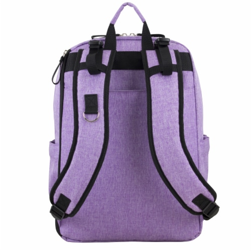 Bodhi Baby Rubin Weekender Tech Diaper Backpack - Purple Chambray Perspective: back