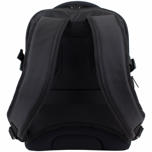 Fuel Sentry TSA Friendly Tech Backpack - Black with Celery Trim Perspective: back