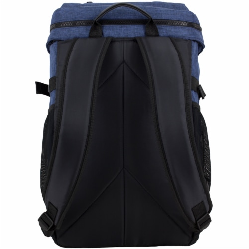 Fuel Barrier Top-Loading Backpack w/ Insulated Zip-Cooler Flap Pocket - Blue Perspective: back