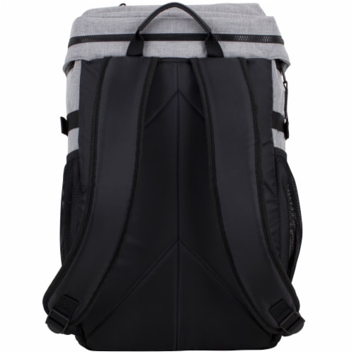 Fuel Barrier Top-Loading Backpack w/ Insulated Zip-Cooler Flap Pocket - Light Grey Chambray Perspective: back