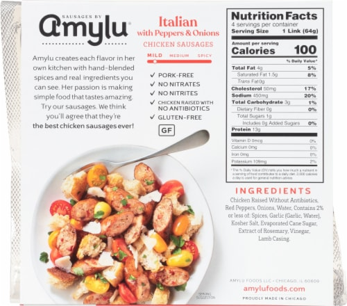 Sausages by Amylu® Italian Chicken Sausage with Peppers & Onions Perspective: back