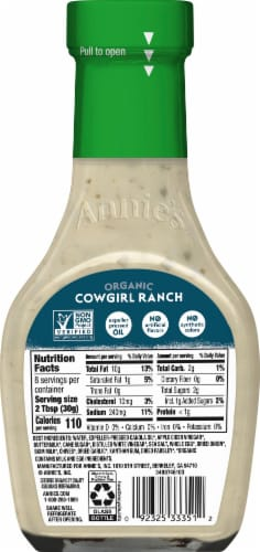 Annie's Homegrown Organic Cowgirl Ranch Dressing Perspective: back