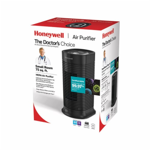 Honeywell True HEPA Compact Tower Air Purifier with Allergen Remover - Black Perspective: back