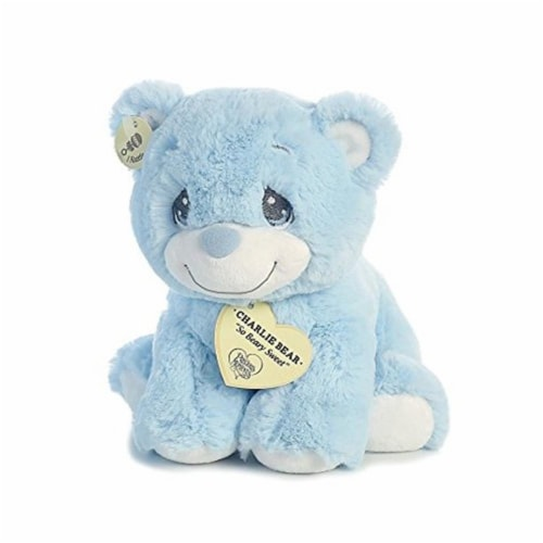 "Aurora World Precious Moments Charlie Bear With Rattle So Beary Sweet Plush, Blue, 8.5"" Perspective: back"