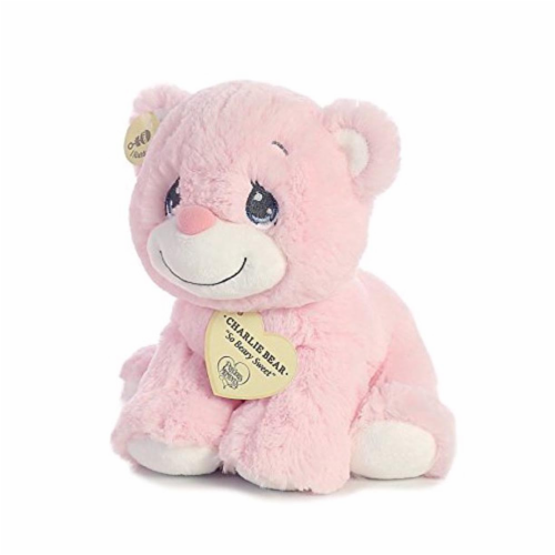 "Aurora World Precious Moments Charlie Bear With Rattle So Beary Sweet Plush, Pink, 8.5"" Perspective: back"