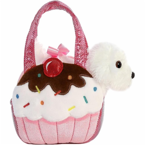Aurora World Fancy Pals Pet Carrier Sweets Cupcake & Puppy Plush Perspective: back