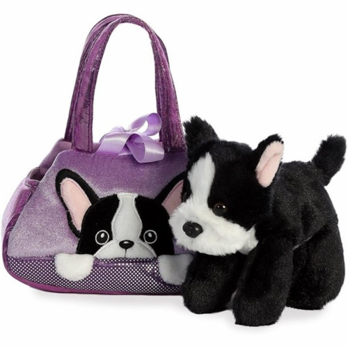 "Aurora - Pet Carrier - 7"" Peek-A-Boo Plush French Bull Dog Perspective: back"