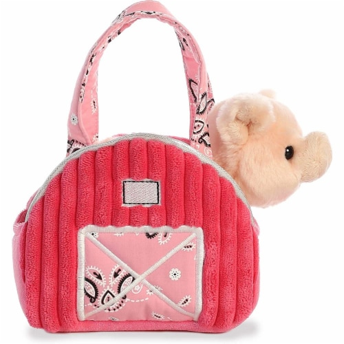 "Aurora World Inc. 7"" Pink Barn Fancy Pal Pet Carrier Perspective: back"